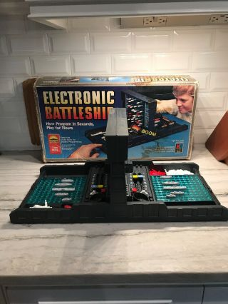 Electronic Battleship Board Game Milton Bradley 1982 With Code Book And Box