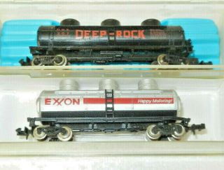 2 X Atlas/model Power N Scale Deep Rock/exxon 3 Dome Tankcars
