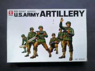Vintage And Rare 1/48 Bandai U.  S.  Army Artillery Crew Figures Model Kit