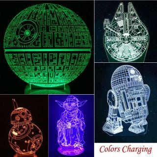 Star Wars Death Star 3d Led Acrylic Night Light 7color Touch Table Desk Art Lamp