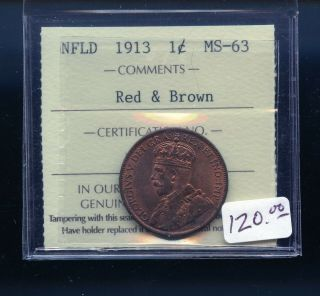 1913 Newfoundland Large Cent Iccs Certified Ms63 Rb A989
