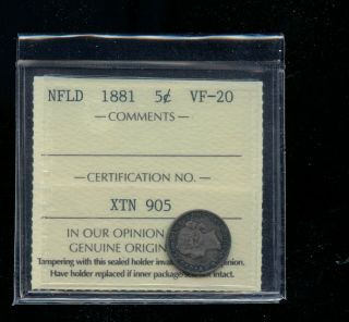 1881 Newfoundland 5 Cents Iccs Certified Vf20 Books: 275.  00 A347