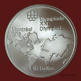 1976 Canada Montreal Olympic 10 Dollars Map Of World Silver Coin Bc 112