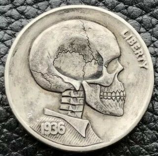 1936 Hobo Buffalo Nickel Hand Carved Skull Skeleton Coin By Gediminas Palsis