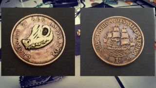 Hobo Nickel.  Hand Carved Coin.  1 Penny.  South Africa.  1945.  Croco Skull.  By Defo