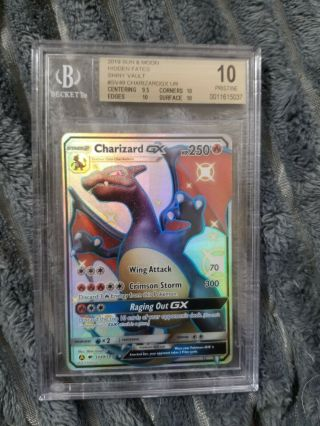 Bgs 10 Hidden Fates Shiny Charizard Gx Sv49 (see Pictures)
