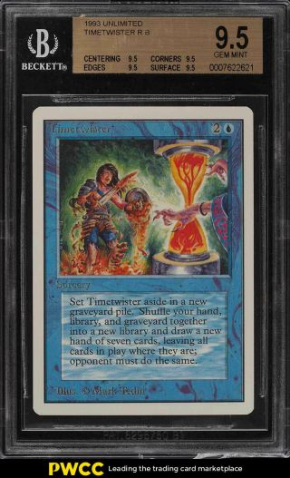 1993 Magic The Gathering Mtg Unlimited Timetwister R B Bgs 9.  5 Gem (pwcc)