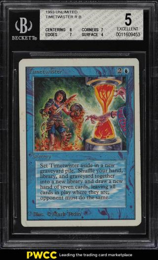 1993 Magic The Gathering Mtg Unlimited Timetwister R B Bgs 5 Ex (pwcc)