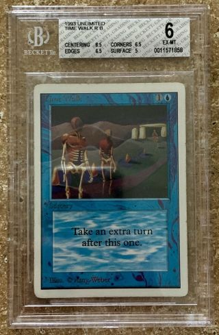 1993 Magic The Gathering Mtg Unlimited Time Walk R B Bgs 6 Ex - Mt (6.  5/6.  5/6.  5/5)