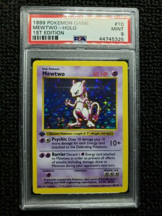 1st Ed Base Set Booster Pokemon Mewtwo Psa 9 Thick Stamp Regrade As A 10