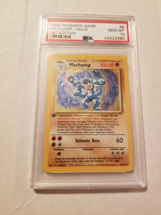 1999 Pokemon Machamp Holo 1st Edition Psa 10