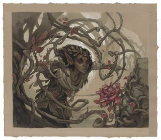 Rosethorn Acolyte Painting By Wylie Beckert For Mtg Throne Of Eldraine