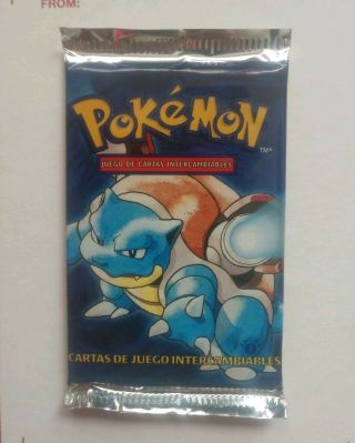 Weighed Heavy Pokemon 1st Edition Base Set Booster Pack - Blastoise - Spanish
