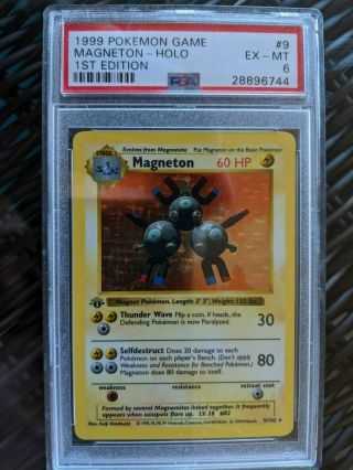 "Base 1999 Pokemon "" Magneton "" Holo 1st Edition Psa: 6 Shadowless 9"