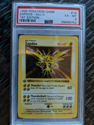 "Base 1999 Pokemon "" Zapdos "" Holo 1st Edition Psa Grade: 6 Shadowless 16"