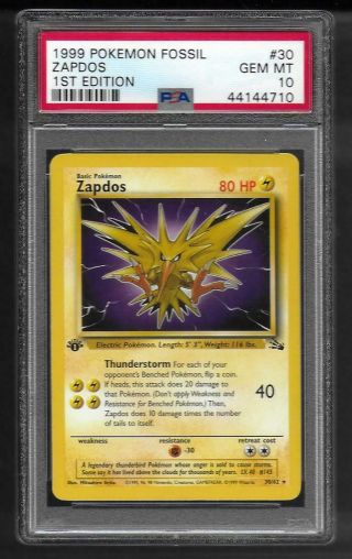 1999 Pokemon Fossil Zapdos 1st Edition Psa 10 Gem Card 30